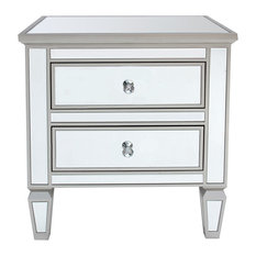 Louis Mirrored 2-Drawer Side Table