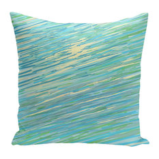 "Polyester Decorative Pillow, Abstract Coastal, Blue, Green, Yellow, 16""x16"""