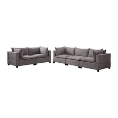 Bowery Hill Fabric Sofa Loveseat Living Room Set In Light Gray