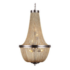 French style chandeliers houzz gatsby luminaires french empire style chainmail 6 light chandelier pewter with aloadofball Gallery