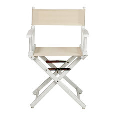 "18"" Director's Chair With White Frame, Natural/Wheat Canvas"