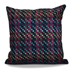 "Mad for Plaid Geometric Print Outdoor Pillow, Purple, 20""x20"""