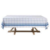 Montauk Blue Windowpane Print Cotton  100''x70'' Tablecloth