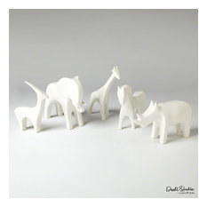 Global Views Ceramic White Animals - Each Piece Sold Separately