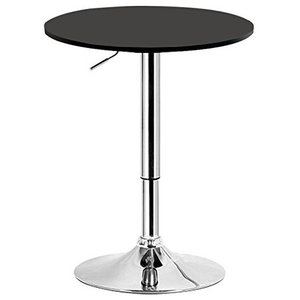 Modern Swivel Bar Table with Chrome Plated Frame and MDF Top, Round Design