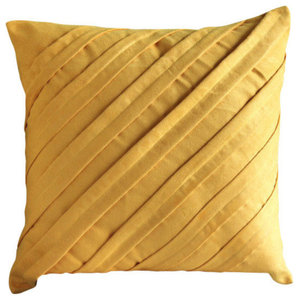 Contemporary Mustard Yellow, Yellow 35x35 Faux Suede Cushions Cover