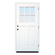 """36""""x80"""" Cottage Prefinished White Prehung Exterior Front Door, Right Hand"""