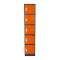 5-Door Metal Storage Locker Cabinet with Key Lock Entry Orange/Dark Grey by Diam
