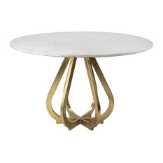 Mercana Laurent, Box A&B, Dining Table, White/Brass