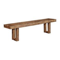 Coaster Fine Furniture   Coaster Elmwood U Base Bench, Wire Brushed Nutmeg    Dining Benches