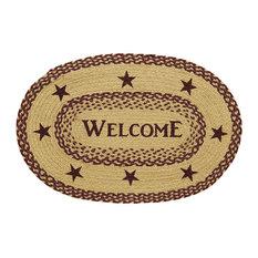 "Burgundy Tan Jute Rug Oval Welcome, 20""X30"""
