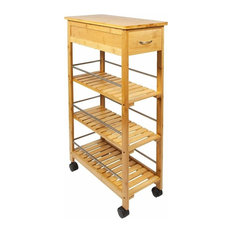 Contemporary 4-Tier Storage Trolley Cart, Natural Bamboo Wood With Drawer