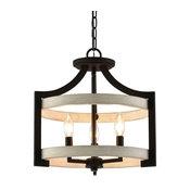 """Kira Home Woodrow 15"""" Farmhouse Semi Flush Convertible Pendant Light, White Wood"""