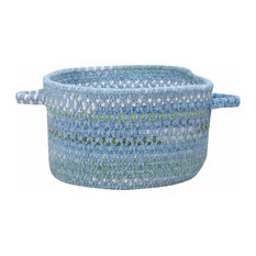 "Waterway Braided Basket, Blue, 16""x16""x9"""