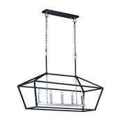 Abode 5-Light Textured Chandelier, Black/Polished Nickel