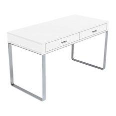 sohoconcept york desk chrome base white lacquer desks and hutches