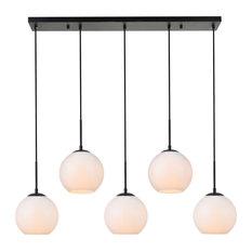 """Elegant Lighting LD2229 Baxter 5 Light 42"""" Linear Pendant - White"""