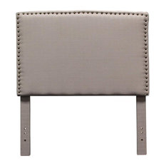 Midcentury Upholstered Headboard With Nail Heads