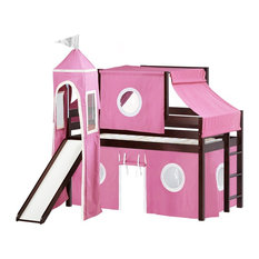 JACKPOT! Princess Low Loft Bed in Cherry with Slide, Pink & White Tent and Tower