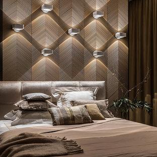 Пример оригинального дизайна: спальня в современном стиле с коричневыми стенами