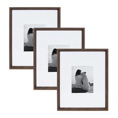 Calter Wall Picture Frame Set, Walnut Brown 16x20 matted to 8x10