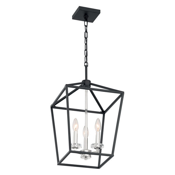 Storyteller 3 Light Pendant in Matte Black And Polished Nickel Accents