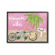 "Summer Vibes Bike Pink Green Beach Ocean Design, 24""x30"", Black Frame"