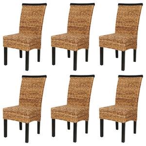 vidaXL Abaca Dining Chairs, Brown, Set of 6