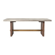 Modrest Amos Concrete and Acacia Dining Table