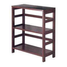 Contemporary 3-Tier Bookcase Storage Shelf In Espresso Wood Finish