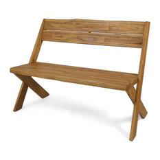 GDF Studio Irene Outdoor Acacia Wood Bench, Teak
