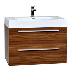 Contemporary Wall-Mount Bathroom Vanity Set, Teak, 31.5""