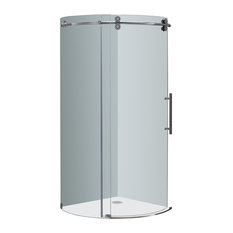 "Orbitus 40""x40""x75"" Frameless Round Shower Enclosure, Chrome, Right Open"