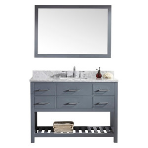 "Caroline Estate 48"" Vanity Set, Gray, Without Faucet, Square, Mirror"