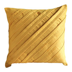 """Contemporary Mustard Yellow, Yellow 18""""x18"""" Faux Suede Fabric Pillows Cover"""