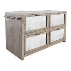 Henry Wood And Concrete Top Island Cabinet