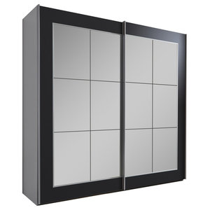 Bilbao Mirrored Wardrobe, Black, Small
