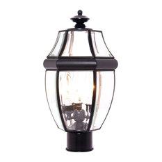 South Park 3-Light Outdoor Post Lantern, Black, Clear