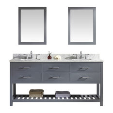 "Virtu Caroline Estate 72"" Double Bathroom Vanity, Gray, Mirrors"