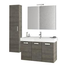 "40"" Gray Oak Bathroom Vanity Set"