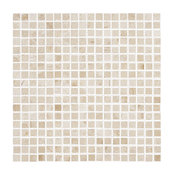 "Polished Tile On Mesh Mosaic, Crema Nouva, 12""x12"""