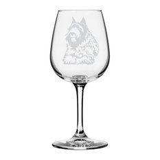 Bouvier Des Flandres Dog Themed Etched All Purpose 12.75oz. Libbey Wine Glass