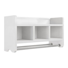 "25"" Bath Storage Shelf With Towel Rods, White"