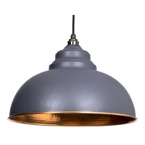 From The Anvil Harborne Pendant, Dark Grey Hammered Copper