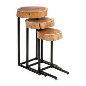 Nadera Rustic Wood Iron Nesting Tables Set of 3 Home Decor