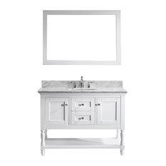 "Julianna 48"" Single Bathroom Vanity Set, White, With Single Mirror"
