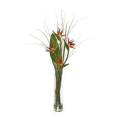 Artificial Flowers, Bird of Paradise and Greens Arrangement