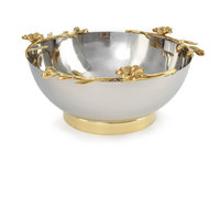 Polished Stainless Steel Bowl With Brass Orchid Stem on Edges, Large