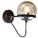 """EQLight - Industrial 1-Light Globe Black Sconce - Industrial Sconce wall mounted. The canopy iand fixture is flat black (matte) finished. The fixture includes a 6"""" diameter clear glass globe. We recommend to use Golf Ball shape light bulb."""