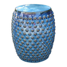 International Caravan   Perforated Navy Blue Drum Ceramic Garden Stool,Navy  Blue Glaze   Accent